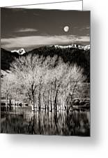 Winter Sunrise And Moonset Greeting Card