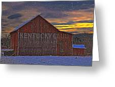 Winter Sunrise Over Dorothy's Barn. Greeting Card