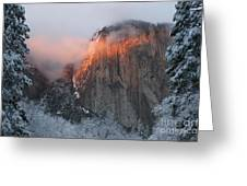 Winter Sunset On El Capitan Greeting Card