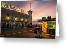 Winter Sunset Over Brighton Pier In England Greeting Card