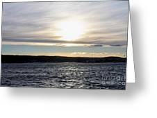Winter Sunset Over Gardiner's Bay Greeting Card by John Telfer