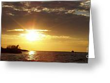 Winter Sunset Over Long Island Greeting Card