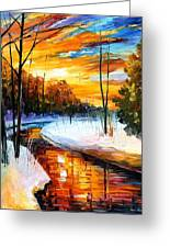 Winter Sunset - Palette Knife Oil Painting On Canvas By Leonid Afremov Greeting Card