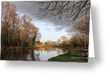 Winter Sunshine On The Wey Canal Surrey Uk Greeting Card