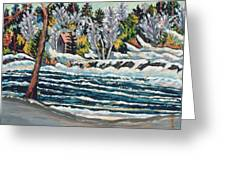 Winter Thaw Gatineau River Greeting Card by Patricia Eyre