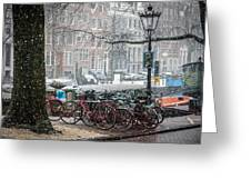 Winter Time In Amsterdam Greeting Card