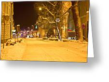 Winter Time Street Scene In Krizevci Greeting Card