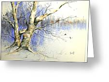 Winter Tree With Birds Greeting Card