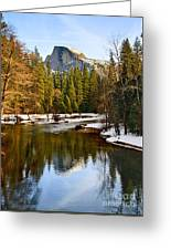 Winter View Of Half Dome In Yosemite National Park. Greeting Card by Jamie Pham