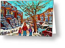 Winter Walk Montreal Paintings Snowy Day In Verdun Montreal Art Carole Spandau Greeting Card