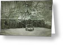 Winter Willow And Snow Covered Seat Greeting Card