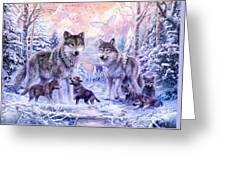 Winter Wolf Family  Greeting Card