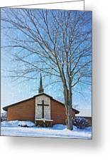 Winter Worship Greeting Card by Bill Tiepelman