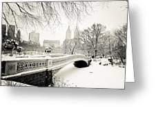 Winter's Touch - Bow Bridge - Central Park - New York City Greeting Card