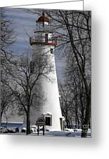 Wintry Lighthouse Greeting Card
