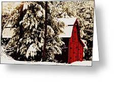 Wintry Red Barn Greeting Card