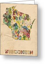 Wisconsin Map Vintage Watercolor Greeting Card