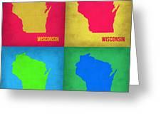 Wisconsin Pop Art Map 1 Greeting Card