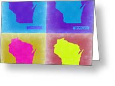 Wisconsin Pop Art Map 3 Greeting Card