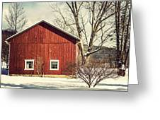 Wise Old Barn Winter Time Greeting Card