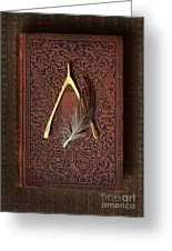 Wishbone And Feather On Antique Book Greeting Card