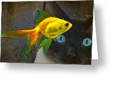 Wishful Thinking - Cat And Fish Art By Sharon Cummings Greeting Card