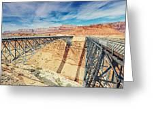 Wispy Clouds Over Navajo Bridge North Rim Grand Canyon Colorado River Greeting Card