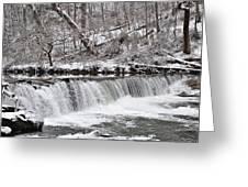Wissahickon Waterfall In Winter Greeting Card