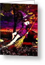 Witch In The Pumpkin Patch Greeting Card