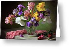 With A Bouquet Of Irises And Flowers Lupine Greeting Card