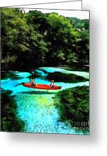 With A Paddle Greeting Card