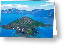 Wizard Island From Watchman Overlook In Crater Lake National Park-oregon  Greeting Card