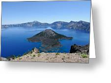 Wizard Island Crater Lake Oregon Usa Greeting Card by John Kelly