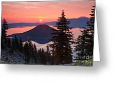 Wizzard Island Sunrise 4 Greeting Card