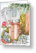Two Pillars And A Mail Box In Mt. Olympus - Hollywood Hills - California Greeting Card