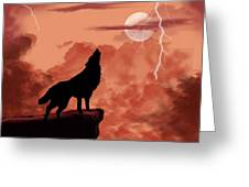 Wolf Howling In The Night Greeting Card