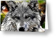 Wolf Line Art  Greeting Card