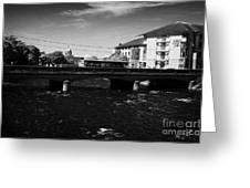 wolfe tone bridge and jurys hotel next to the quays on the corrib river Galway city county Galway Republic of Ireland Greeting Card