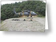 Wolfhounds Air Assault From A Uh-60 Greeting Card