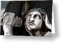 Woman And Cross Greeting Card