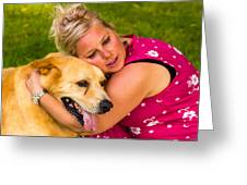 Woman And Dog. Greeting Card