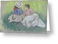 Woman And Girl On The Grass Greeting Card