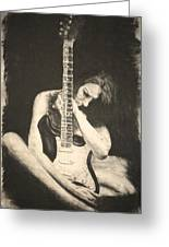 Woman And Guitar Greeting Card
