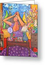 Woman At Dressing Table Greeting Card by Chaline Ouellet