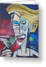 Woman At Martini Bar Greeting Card