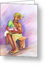 Woman Breastfeeding Bay In Rwanda Greeting Card
