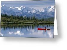 Woman Canoeing In Wonder Lake Alaska Greeting Card