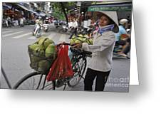 Woman Carrying Fruit On Bike Greeting Card by Sami Sarkis