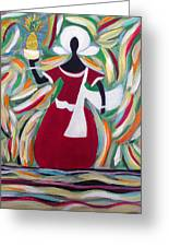 Woman Carrying Pineapple  Greeting Card