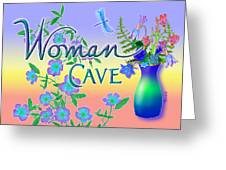 Woman Cave With Dragonfly Greeting Card